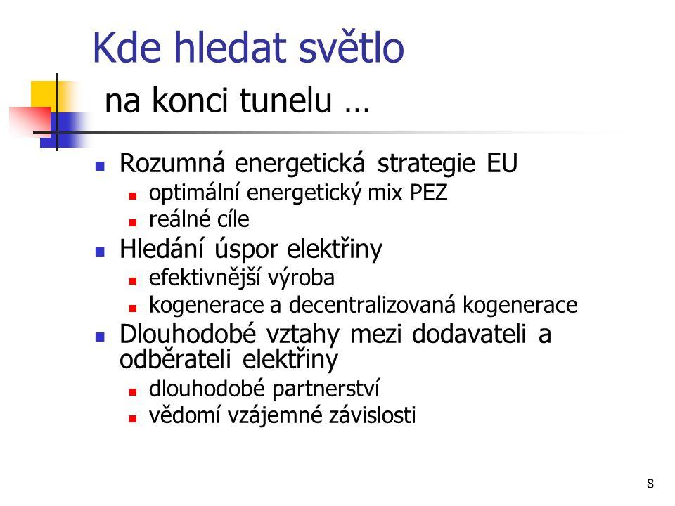 8 Kde hledat světlo na konci tunelu … Rozumná energetická strategie EU optimální energetický mix PEZ reálné cíle Hledání úspor elektřiny efektivnější