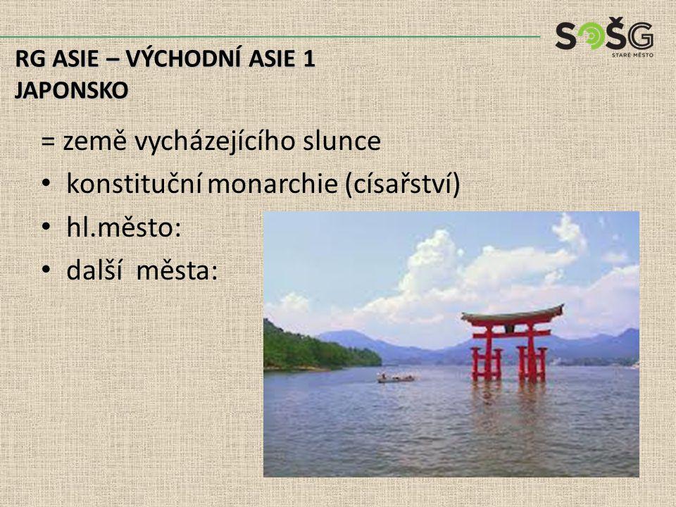 Zemědělství: terasy na úrodných sopečných půdách rybolov, plody moře (velryby?!) RG ASIE – VÝCHODNÍ ASIE 1 JAPONSKO