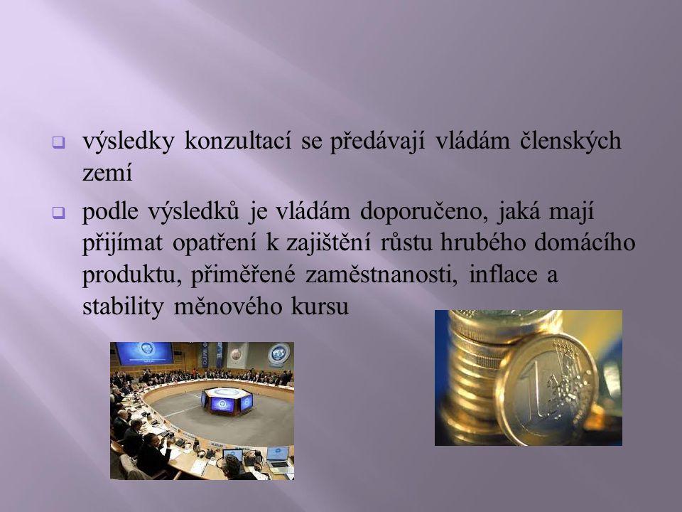  výsledky konzultací se předávají vládám členských zemí  podle výsledků je vládám doporučeno, jaká mají přijímat opatření k zajištění růstu hrubého domácího produktu, přiměřené zaměstnanosti, inflace a stability měnového kursu