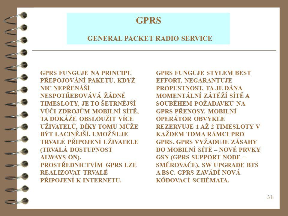 31 GPRS GENERAL PACKET RADIO SERVICE GPRS FUNGUJE NA PRINCIPU PŘEPOJOVÁNÍ PAKETŮ, KDYŽ NIC NEPŘENÁŠÍ NESPOTŘEBOVÁVÁ ŽÁDNÉ TIMESLOTY, JE TO ŠETRNĚJŠÍ V