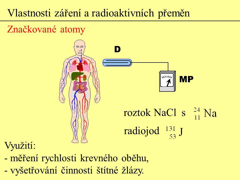 Využití: - měření rychlosti krevného oběhu, - vyšetřování činnosti štítné žlázy. roztok NaCl s radiojod Vlastnosti záření a radioaktivních přeměn Znač