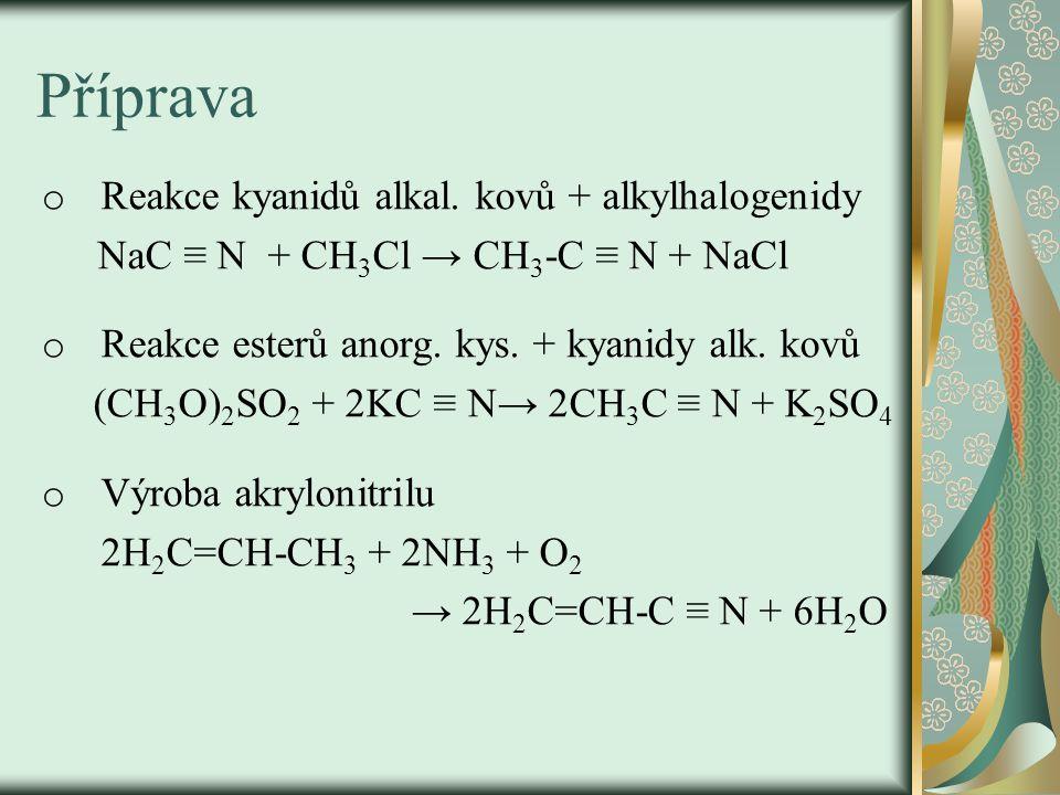 Příprava o Reakce kyanidů alkal.