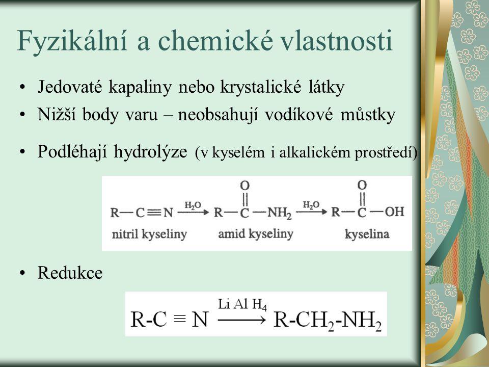 Fyzikální a chemické vlastnosti Jedovaté kapaliny nebo krystalické látky Nižší body varu – neobsahují vodíkové můstky Podléhají hydrolýze (v kyselém i alkalickém prostředí) Redukce