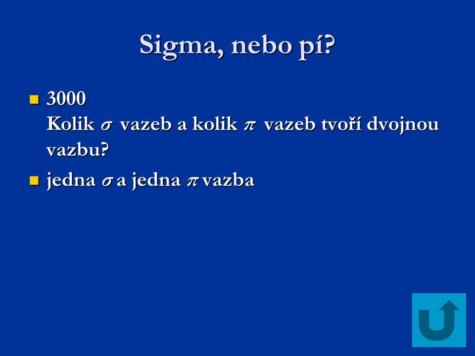Sigma, nebo pí? 3000 Kolik σ vazeb a kolik π vazeb tvoří dvojnou vazbu? 3000 Kolik σ vazeb a kolik π vazeb tvoří dvojnou vazbu? jedna σ a jedna π vazb