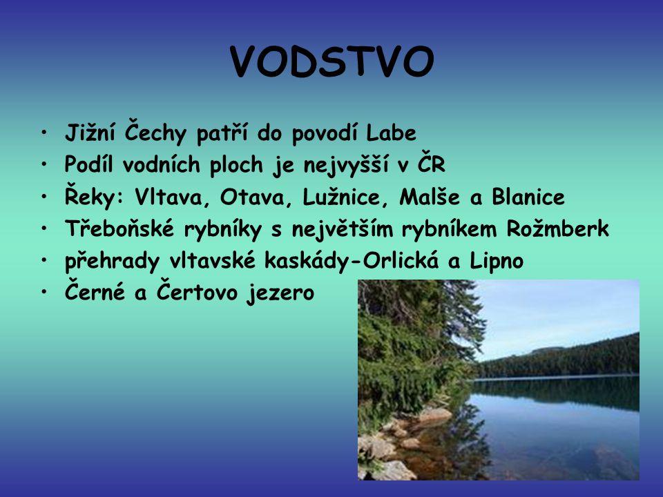 VODSTVO Jižní Čechy patří do povodí Labe Podíl vodních ploch je nejvyšší v ČR Řeky: Vltava, Otava, Lužnice, Malše a Blanice Třeboňské rybníky s největ