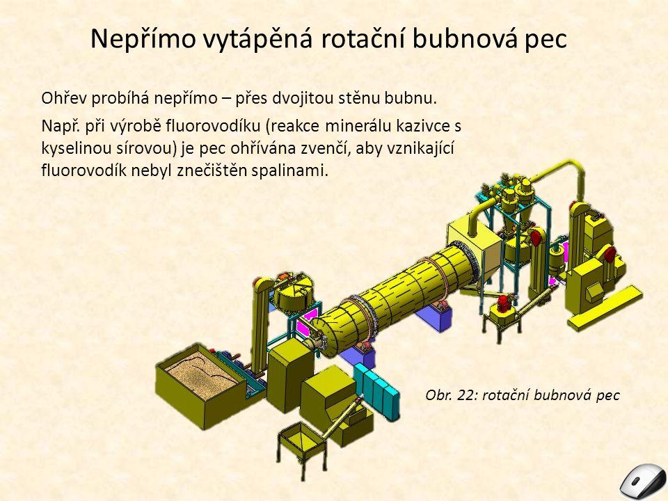 Nepřímo vytápěná rotační bubnová pec Ohřev probíhá nepřímo – přes dvojitou stěnu bubnu. Např. při výrobě fluorovodíku (reakce minerálu kazivce s kysel