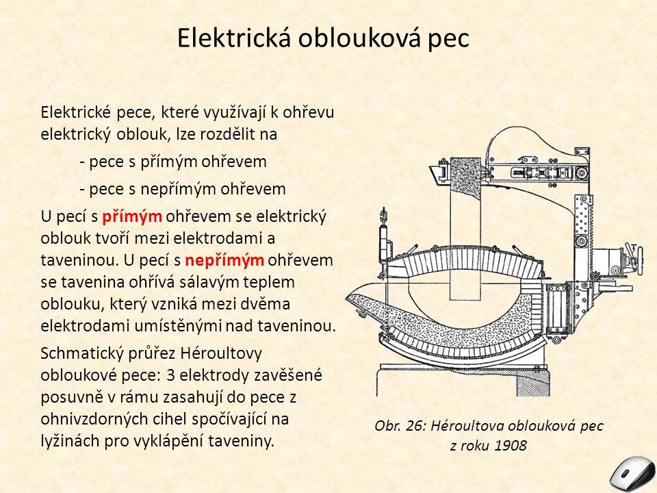 Elektrická oblouková pec Elektrické pece, které využívají k ohřevu elektrický oblouk, lze rozdělit na - pece s přímým ohřevem - pece s nepřímým ohřeve