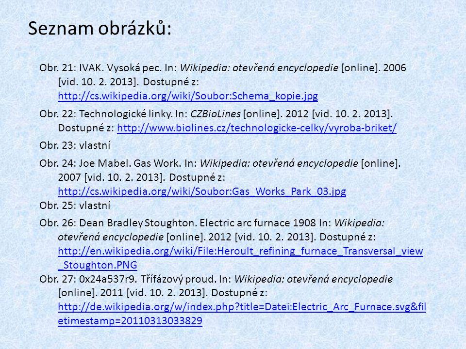 Seznam obrázků: Obr. 21: IVAK. Vysoká pec. In: Wikipedia: otevřená encyclopedie [online]. 2006 [vid. 10. 2. 2013]. Dostupné z: http://cs.wikipedia.org