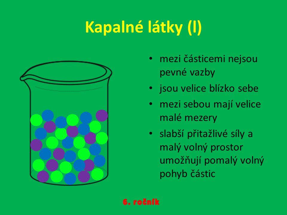 Kapalné látky (l) mezi částicemi nejsou pevné vazby jsou velice blízko sebe mezi sebou mají velice malé mezery slabší přitažlivé síly a malý volný pro
