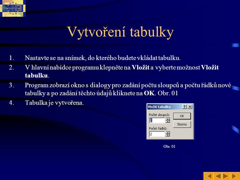 Tabulka vytvořená v PowerPoint PowerPoint disponuje nástrojem, který umí vytvořit jednoduchou tabulku.