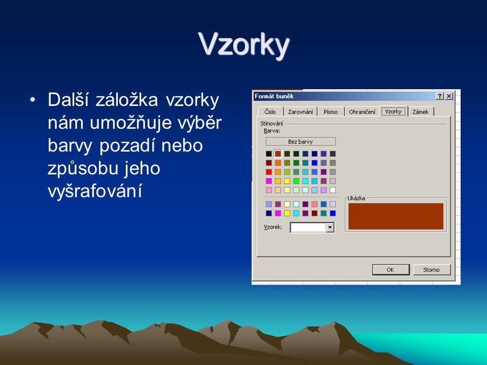 Vzorky Další záložka vzorky nám umožňuje výběr barvy pozadí nebo způsobu jeho vyšrafování