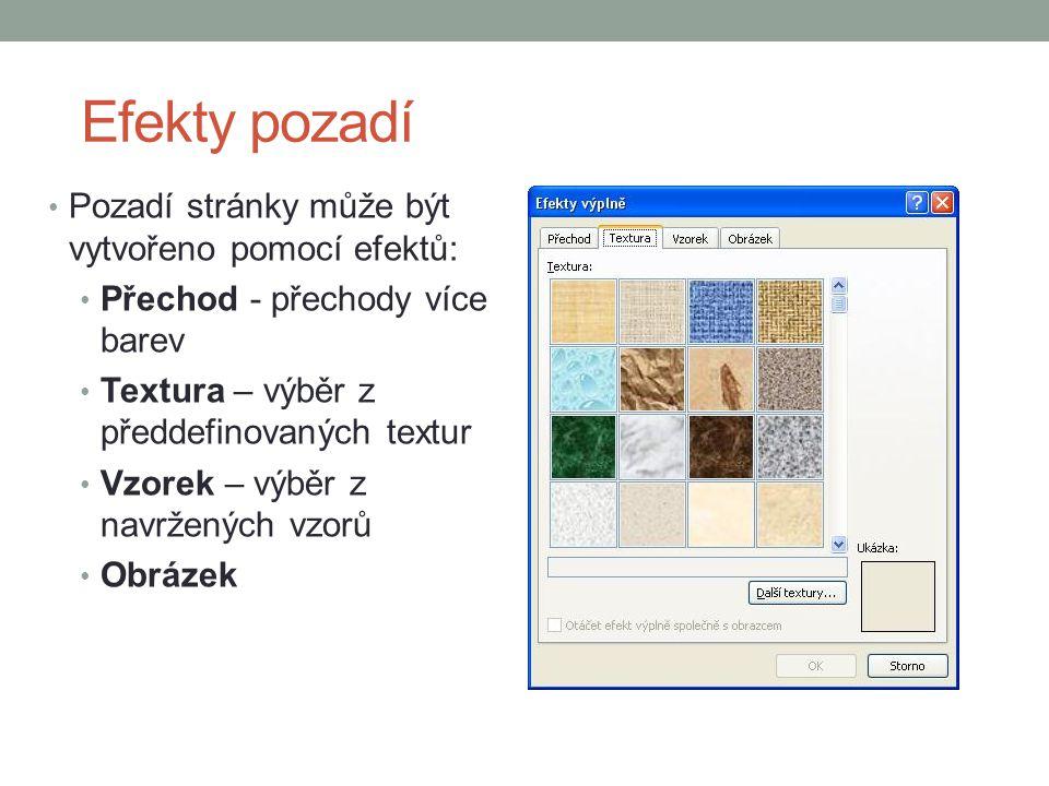 Efekty pozadí Pozadí stránky může být vytvořeno pomocí efektů: Přechod - přechody více barev Textura – výběr z předdefinovaných textur Vzorek – výběr z navržených vzorů Obrázek