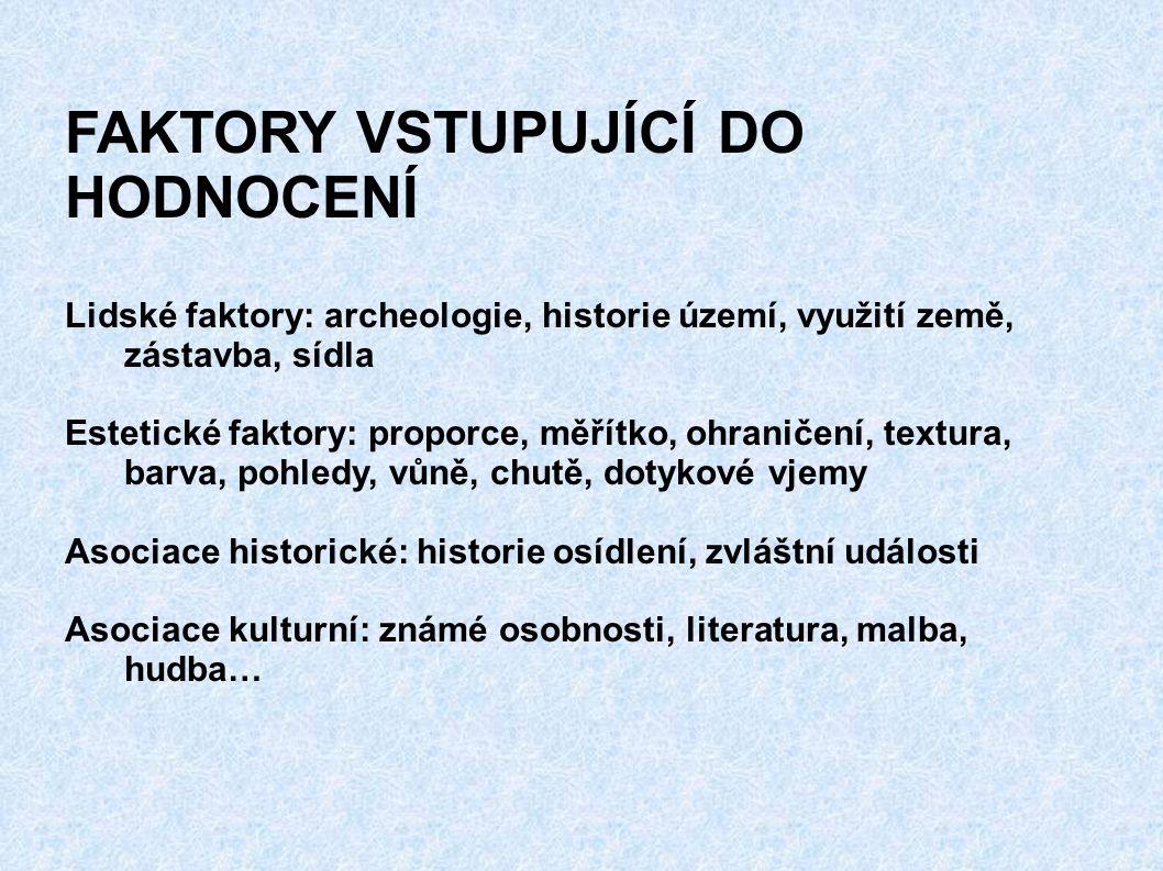 FAKTORY VSTUPUJÍCÍ DO HODNOCENÍ Lidské faktory: archeologie, historie území, využití země, zástavba, sídla Estetické faktory: proporce, měřítko, ohran