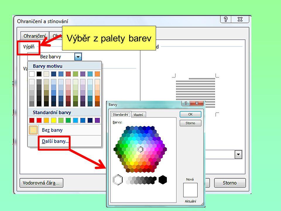 Výběr z palety barev
