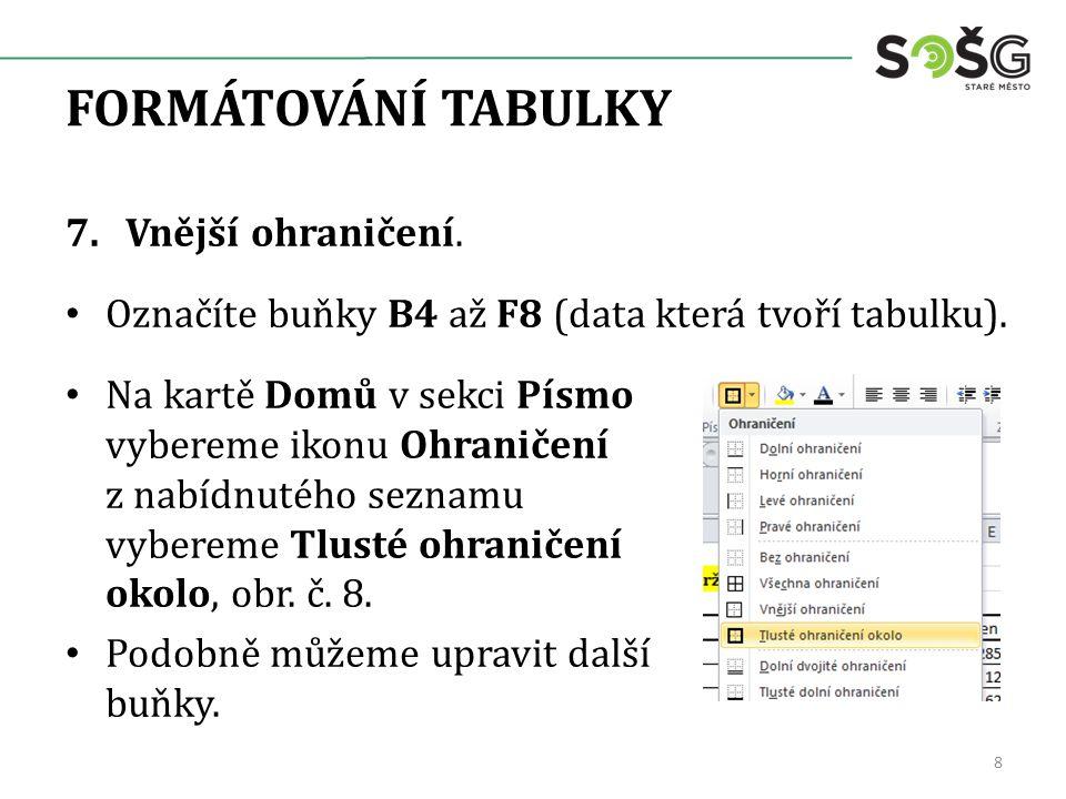 FORMÁTOVÁNÍ TABULKY, obr. č. 9. 9