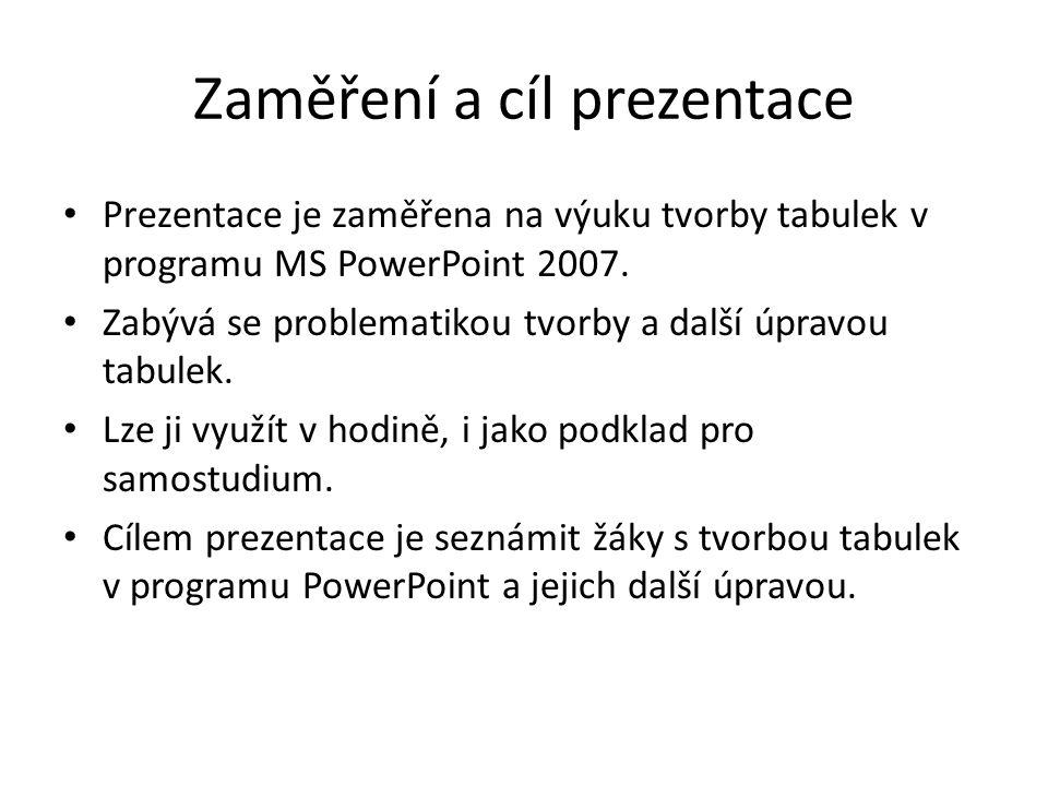 Zaměření a cíl prezentace Prezentace je zaměřena na výuku tvorby tabulek v programu MS PowerPoint 2007.