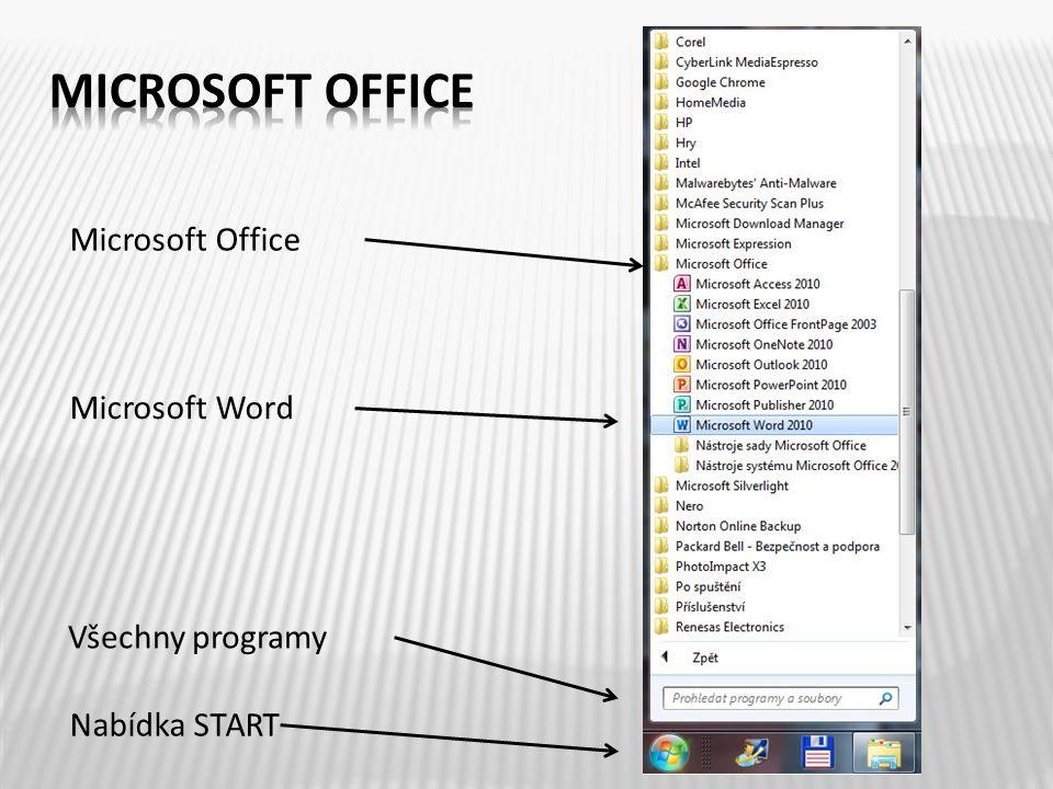 Nabídka START Všechny programy Microsoft Office Microsoft Word