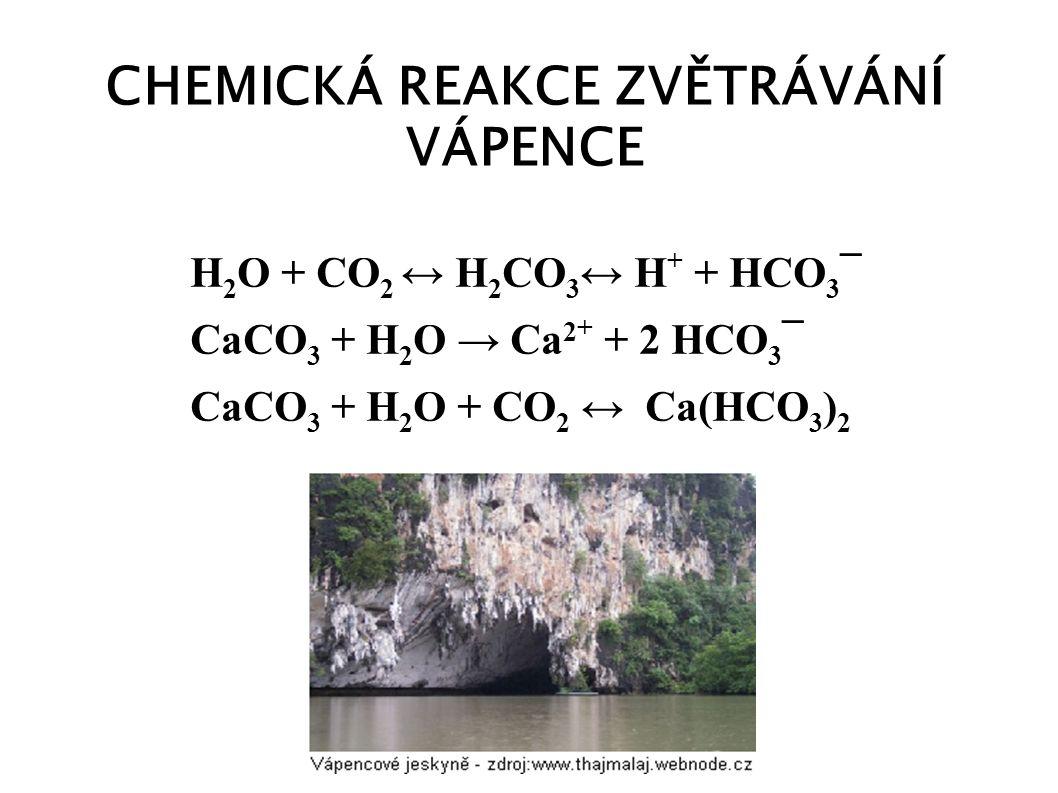 CHEMICKÁ REAKCE ZVĚTRÁVÁNÍ VÁPENCE H 2 O + CO 2 ↔ H 2 CO 3 ↔ H + + HCO 3 ¯ CaCO 3 + H 2 O → Ca 2 + + 2 HCO 3 ¯ CaCO 3 + H 2 O + CO 2 ↔ Ca(HCO 3 ) 2
