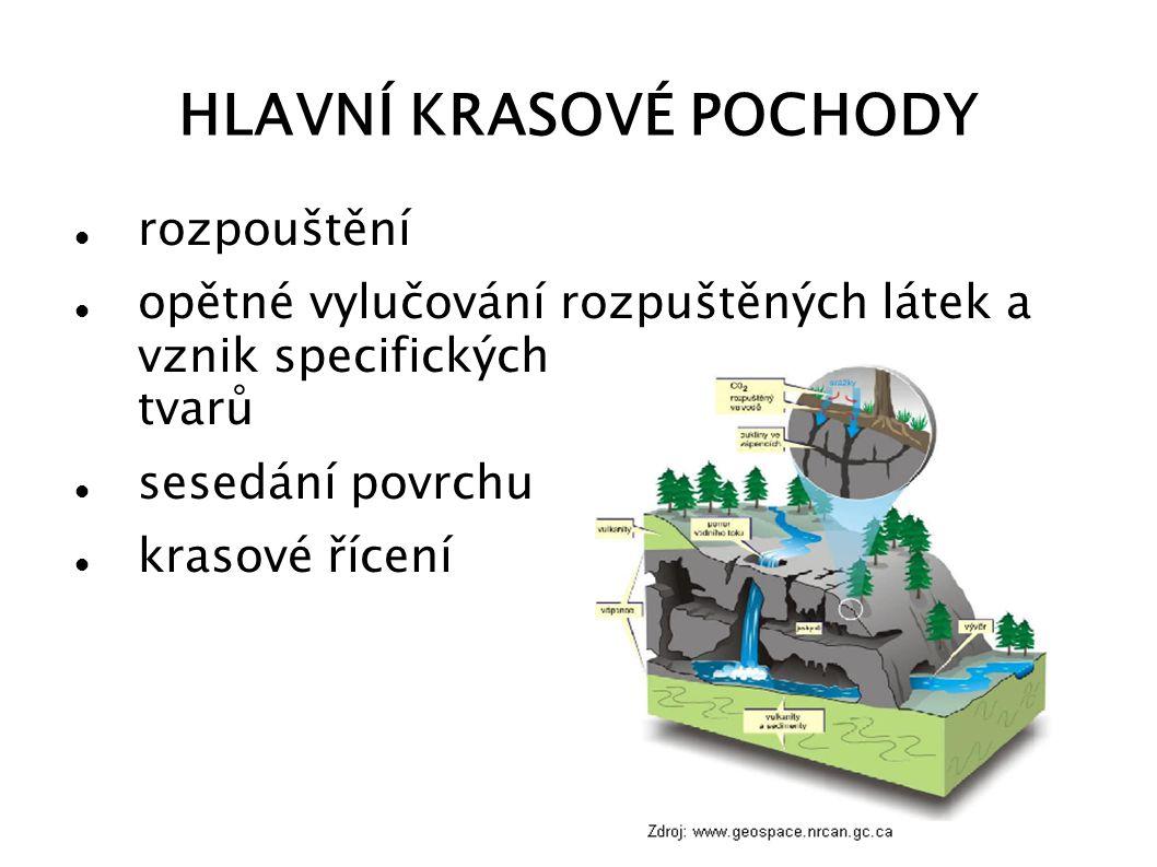 KRAS V ČR převážně malé oblasti krasový reliéf charakteristický sítí jeskyní a propastí vytvořen na vápencích a vápnitých dolomitech v Českém masívu a vnějších Západních Karpatech krasové oblasti: Český kras, Moravský kras, Hranický kras, území Javoříčské jeskyně, Bozkovské jeskyně nebo jeskyně Šipka