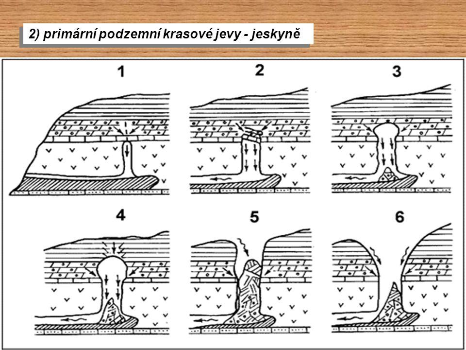 2) primární podzemní krasové jevy - jeskyně