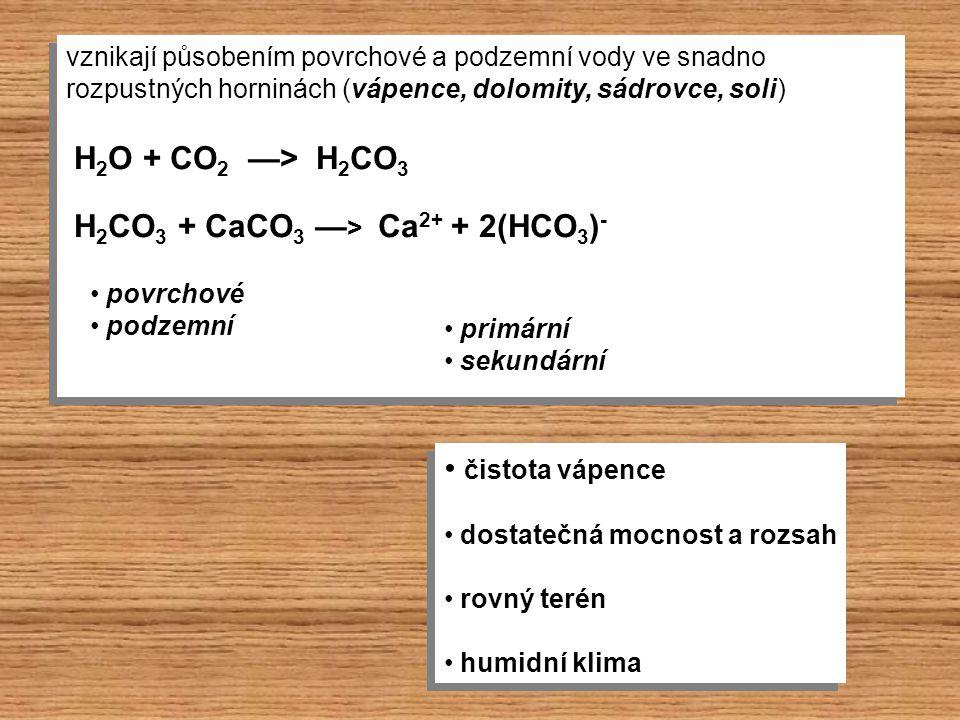 vznikají působením povrchové a podzemní vody ve snadno rozpustných horninách (vápence, dolomity, sádrovce, soli) vznikají působením povrchové a podzem