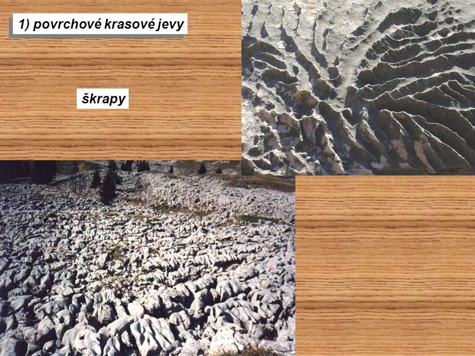 1) povrchové krasové jevy škrapy