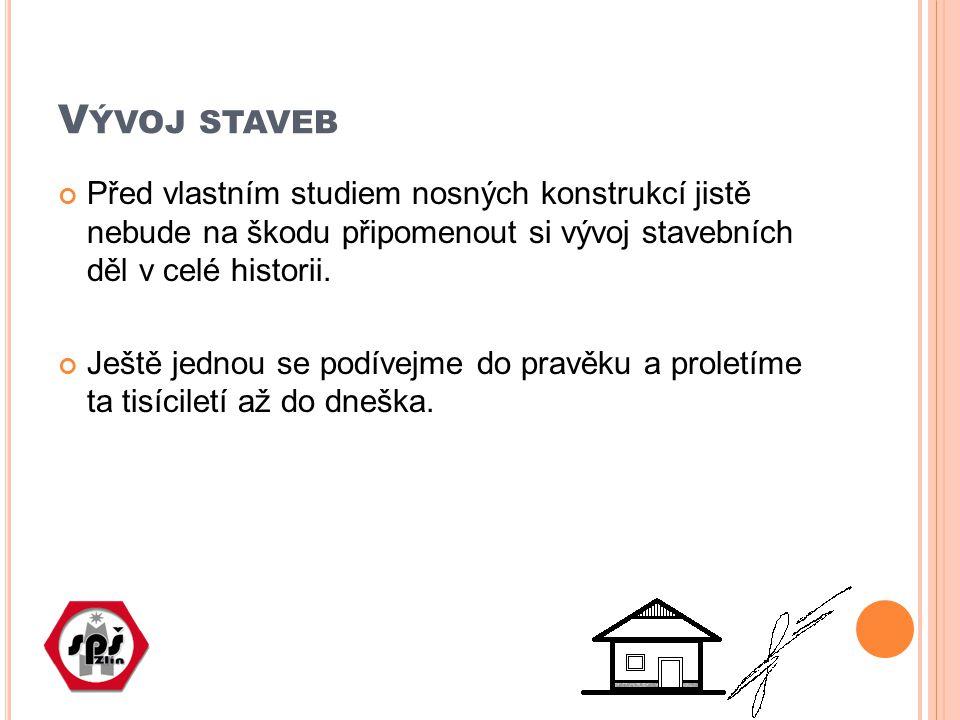 V ÝVOJ STAVEB Před vlastním studiem nosných konstrukcí jistě nebude na škodu připomenout si vývoj stavebních děl v celé historii.