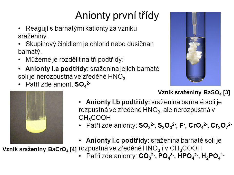 Anionty první třídy Reagují s barnatými kationty za vzniku sraženiny.