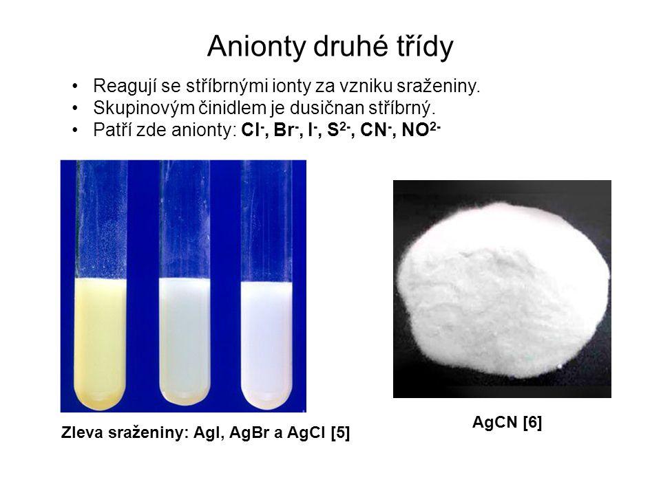 Anionty druhé třídy Reagují se stříbrnými ionty za vzniku sraženiny.