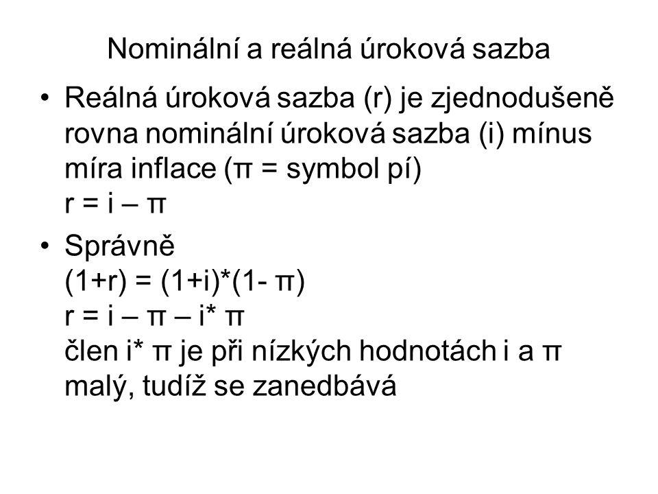 Nominální a reálná úroková sazba Reálná úroková sazba (r) je zjednodušeně rovna nominální úroková sazba (i) mínus míra inflace (π = symbol pí) r = i – π Správně (1+r) = (1+i)*(1- π) r = i – π – i* π člen i* π je při nízkých hodnotách i a π malý, tudíž se zanedbává