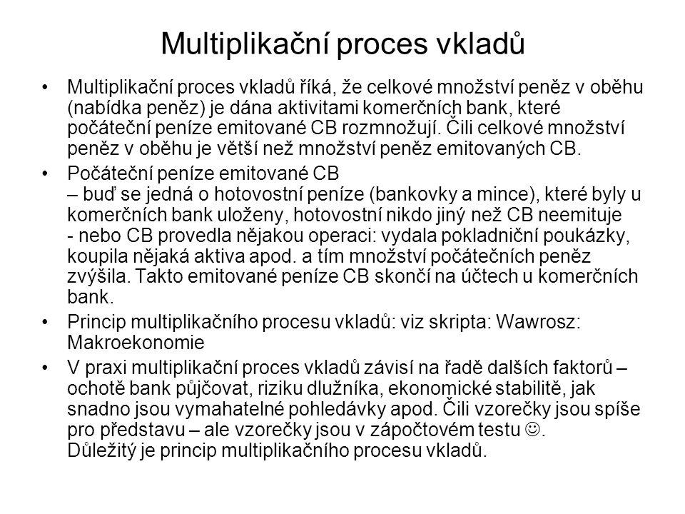 Multiplikační proces vkladů Multiplikační proces vkladů říká, že celkové množství peněz v oběhu (nabídka peněz) je dána aktivitami komerčních bank, které počáteční peníze emitované CB rozmnožují.
