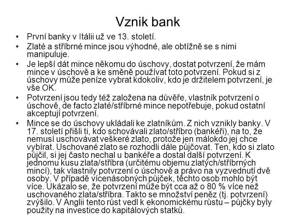 Vznik bank První banky v Itálii už ve 13.století.