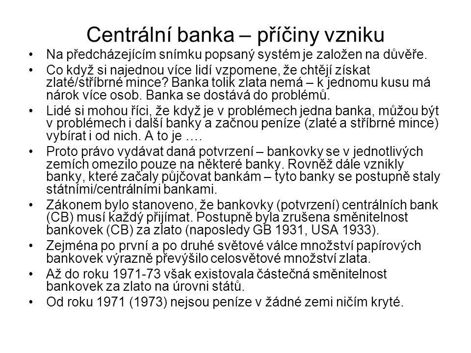 Centrální banka – příčiny vzniku Na předcházejícím snímku popsaný systém je založen na důvěře.