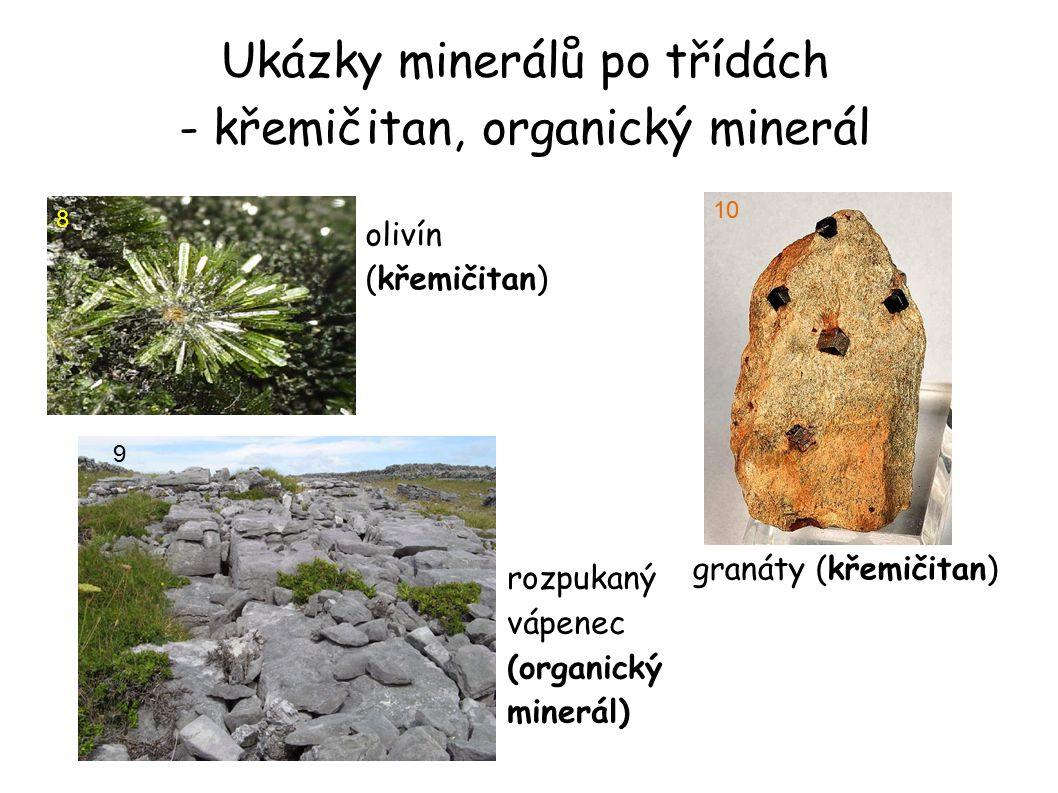 Ukázky minerálů po třídách - křemičitan, organický minerál olivín (křemičitan)  8 rozpukaný vápenec (organický minerál) 9 granáty (křemičitan)  10