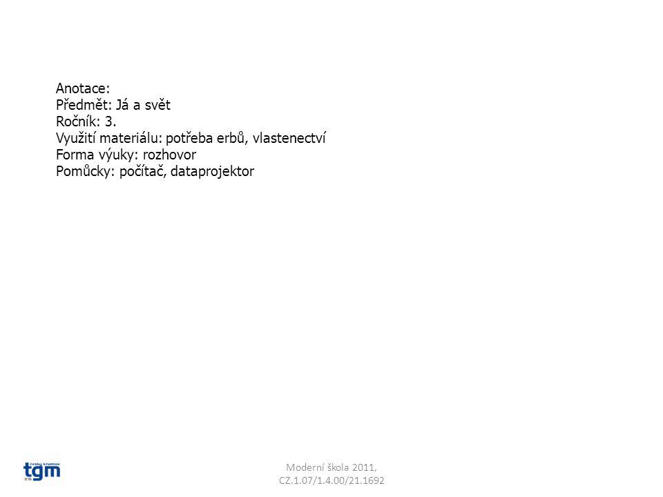 Anotace: Předmět: Já a svět Ročník: 3. Využití materiálu: potřeba erbů, vlastenectví Forma výuky: rozhovor Pomůcky: počítač, dataprojektor