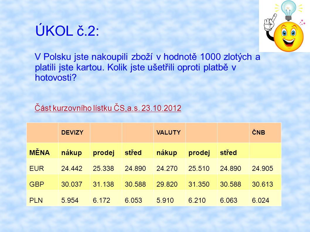 ÚKOL č.2: V Polsku jste nakoupili zboží v hodnotě 1000 zlotých a platili jste kartou. Kolik jste ušetřili oproti platbě v hotovosti? Část kurzovního l
