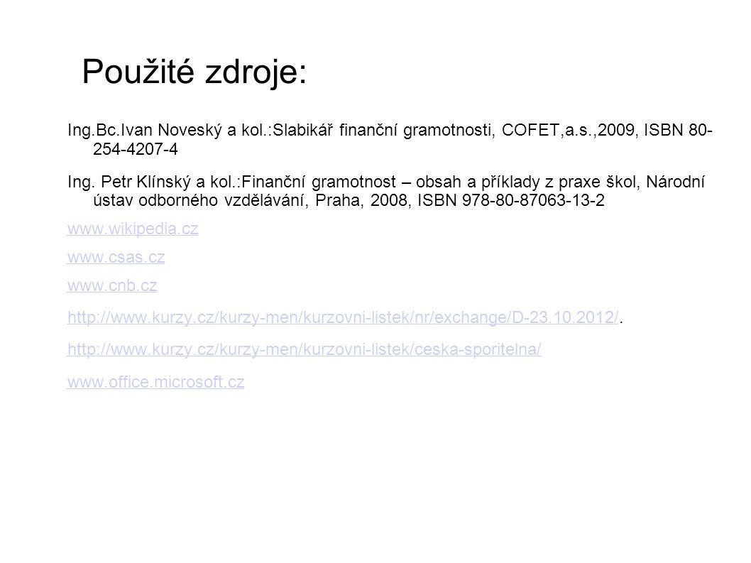 Použité zdroje: Ing.Bc.Ivan Noveský a kol.:Slabikář finanční gramotnosti, COFET,a.s.,2009, ISBN 80- 254-4207-4 Ing. Petr Klínský a kol.:Finanční gramo