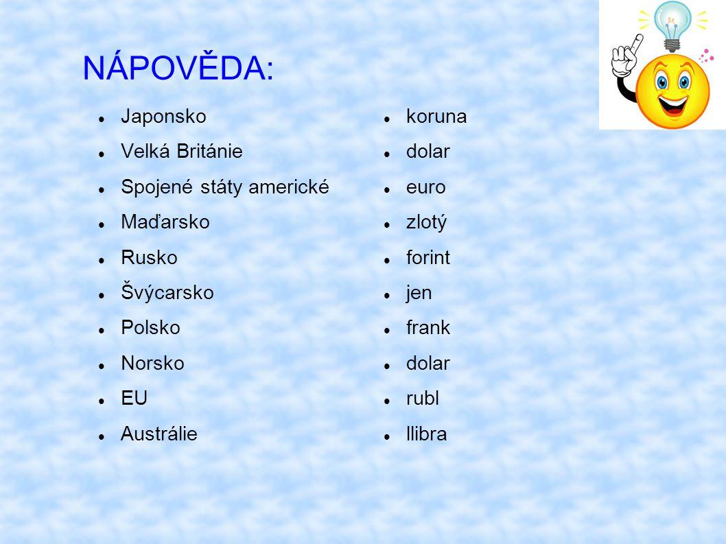 ŘEŠENÍ ÚKOLU: USD americký dolar AUD australský dolar GBP britská libra NOK norská koruna HUF maďarský forint PLN polský zlotý CHF švýcarský frank JPY japonský jen EUR euro RUB ruský rubl