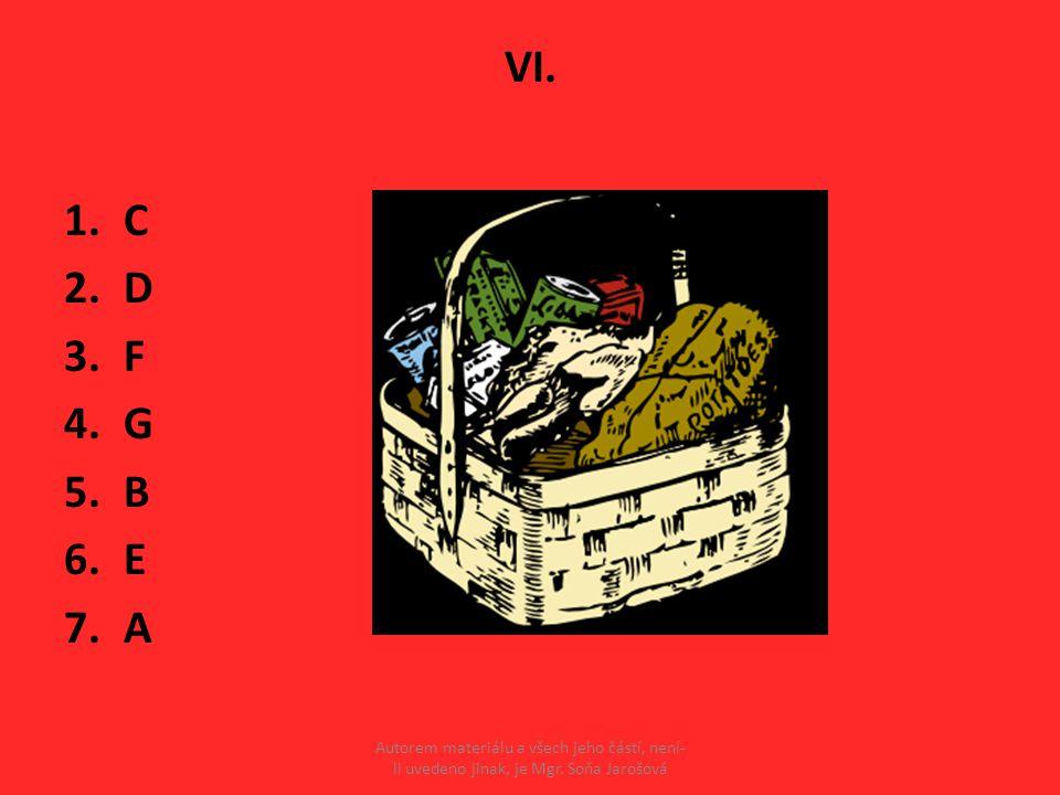 VI. 1.C 2.D 3.F 4.G 5.B 6.E 7.A Autorem materiálu a všech jeho částí, není- li uvedeno jinak, je Mgr. Soňa Jarošová