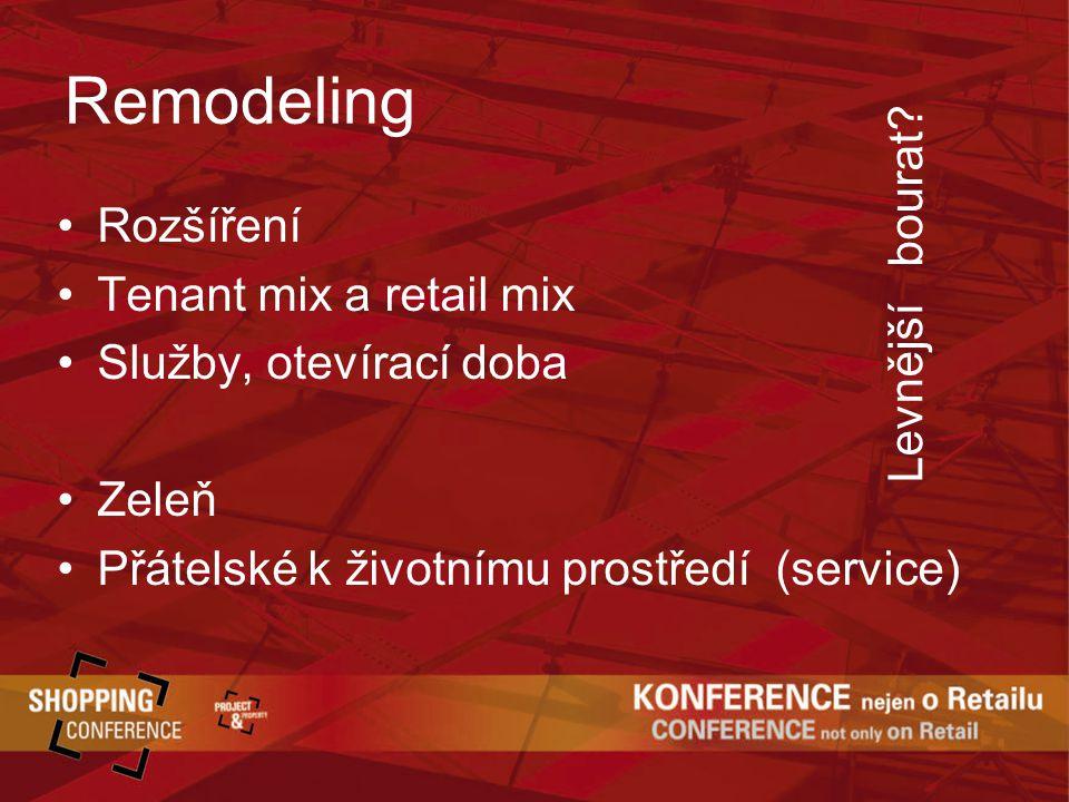 Remodeling Rozšíření Tenant mix a retail mix Služby, otevírací doba Zeleň Přátelské k životnímu prostředí (service) Levnější bourat
