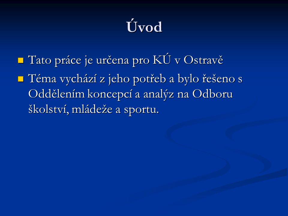 Úvod Tato práce je určena pro KÚ v Ostravě Tato práce je určena pro KÚ v Ostravě Téma vychází z jeho potřeb a bylo řešeno s Oddělením koncepcí a analýz na Odboru školství, mládeže a sportu.