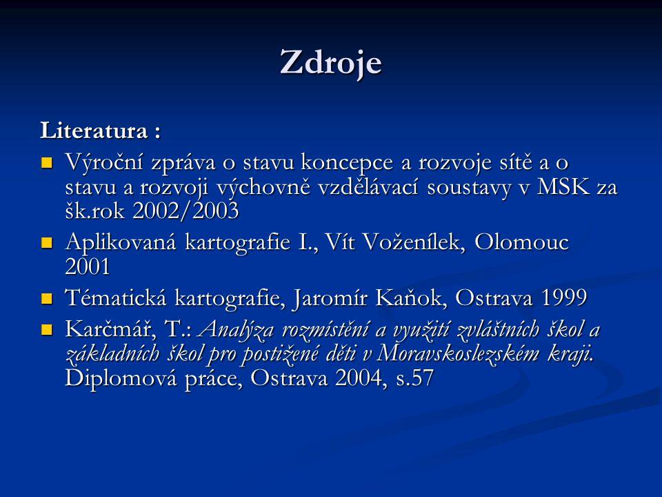 Zdroje Literatura : Výroční zpráva o stavu koncepce a rozvoje sítě a o stavu a rozvoji výchovně vzdělávací soustavy v MSK za šk.rok 2002/2003 Výroční zpráva o stavu koncepce a rozvoje sítě a o stavu a rozvoji výchovně vzdělávací soustavy v MSK za šk.rok 2002/2003 Aplikovaná kartografie I., Vít Voženílek, Olomouc 2001 Aplikovaná kartografie I., Vít Voženílek, Olomouc 2001 Tématická kartografie, Jaromír Kaňok, Ostrava 1999 Tématická kartografie, Jaromír Kaňok, Ostrava 1999 Karčmář, T.: Analýza rozmístění a využití zvláštních škol a základních škol pro postižené děti v Moravskoslezském kraji.