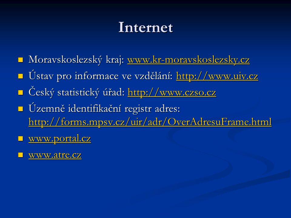 Internet Moravskoslezský kraj: www.kr-moravskoslezsky.cz Moravskoslezský kraj: www.kr-moravskoslezsky.czwww.kr-moravskoslezsky.cz Ústav pro informace ve vzdělání: http://www.uiv.cz Ústav pro informace ve vzdělání: http://www.uiv.czhttp://www.uiv.cz Český statistický úřad: http://www.czso.cz Český statistický úřad: http://www.czso.czhttp://www.czso.cz Územně identifikační registr adres: http://forms.mpsv.cz/uir/adr/OverAdresuFrame.html Územně identifikační registr adres: http://forms.mpsv.cz/uir/adr/OverAdresuFrame.html http://forms.mpsv.cz/uir/adr/OverAdresuFrame.html www.portal.cz www.portal.cz www.portal.cz www.atre.cz www.atre.cz www.atre.cz