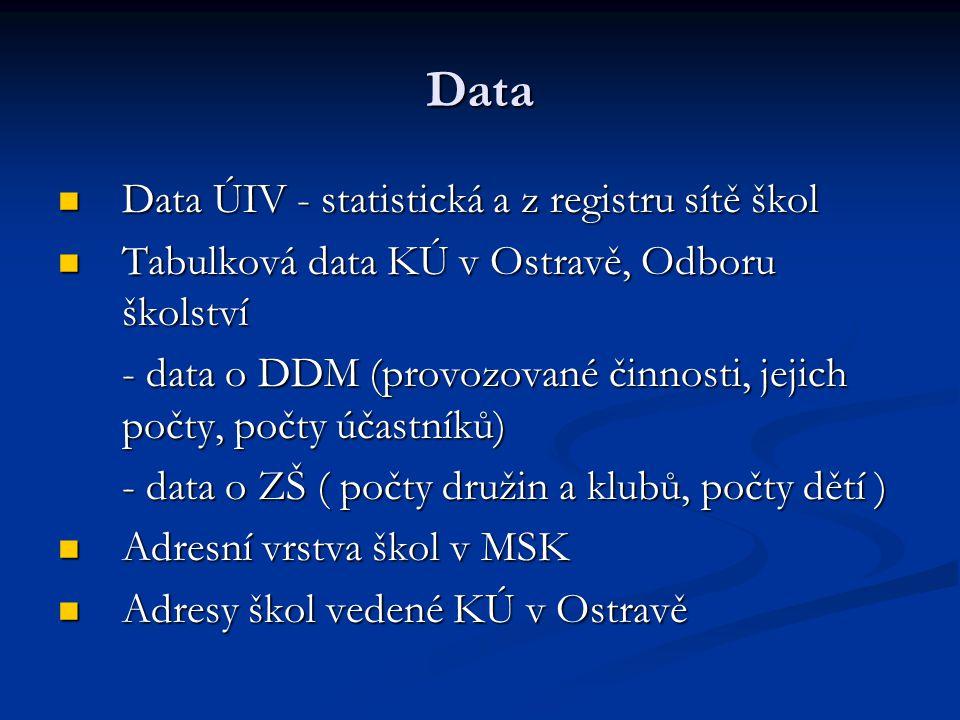 Data Data ÚIV - statistická a z registru sítě škol Data ÚIV - statistická a z registru sítě škol Tabulková data KÚ v Ostravě, Odboru školství Tabulková data KÚ v Ostravě, Odboru školství - data o DDM (provozované činnosti, jejich počty, počty účastníků) - data o ZŠ ( počty družin a klubů, počty dětí ) Adresní vrstva škol v MSK Adresní vrstva škol v MSK Adresy škol vedené KÚ v Ostravě Adresy škol vedené KÚ v Ostravě