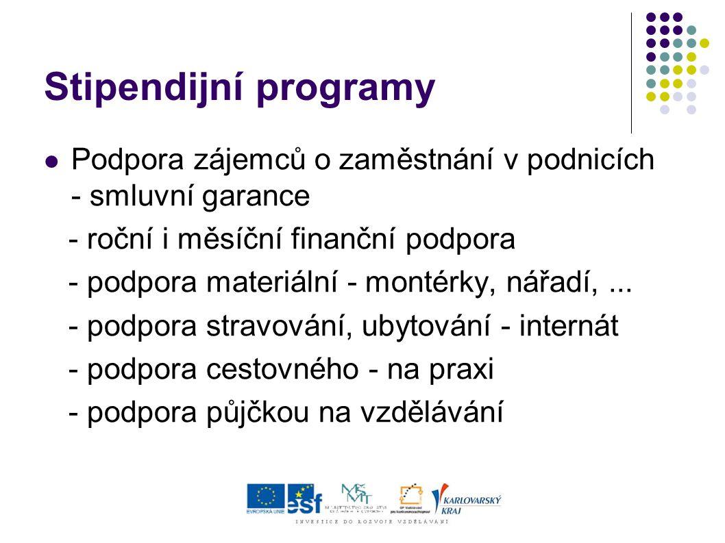 Stipendijní programy Podpora zájemců o zaměstnání v podnicích - smluvní garance - roční i měsíční finanční podpora - podpora materiální - montérky, nářadí,...