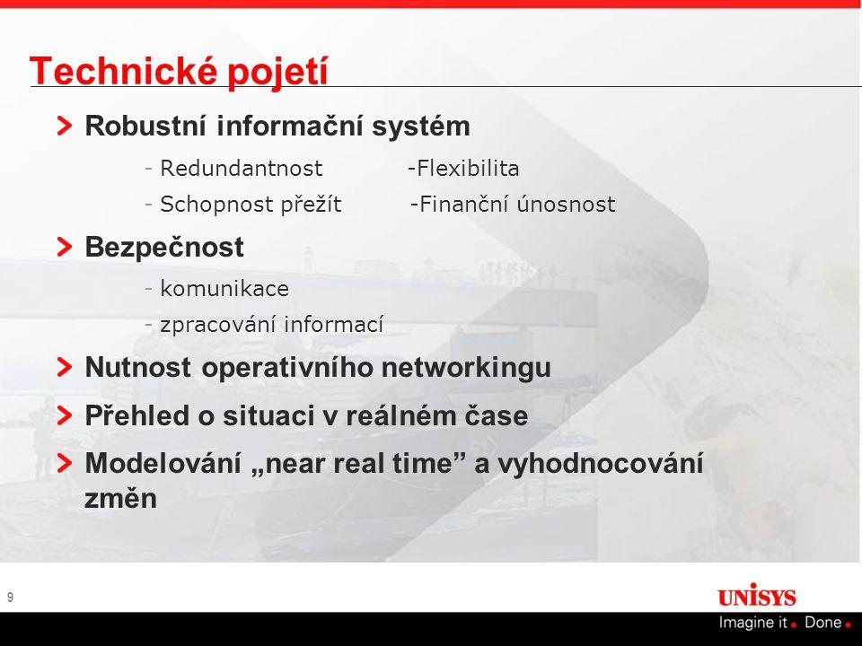 """9 Technické pojetí Robustní informační systém -Redundantnost -Flexibilita -Schopnost přežít -Finanční únosnost Bezpečnost -komunikace -zpracování informací Nutnost operativního networkingu Přehled o situaci v reálném čase Modelování """"near real time a vyhodnocování změn"""