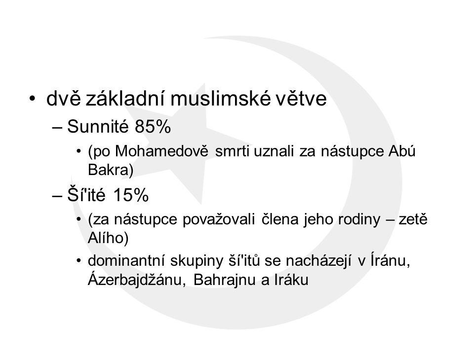 dvě základní muslimské větve –Sunnité 85% (po Mohamedově smrti uznali za nástupce Abú Bakra) –Ší ité 15% (za nástupce považovali člena jeho rodiny – zetě Alího) dominantní skupiny ší itů se nacházejí v Íránu, Ázerbajdžánu, Bahrajnu a Iráku