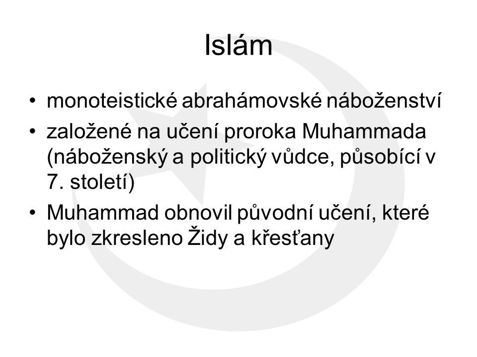 """slovo """"islám znamená – podrobení či odevzdání se Bohu Bůh – arabsky Alláh stoupenec islámu – muslim (znamená – ten, kdo se Bohu podřizuje) počet muslimů - 1,57 až 1,65 miliardy, druhé nejpočetnější náboženství světa"""