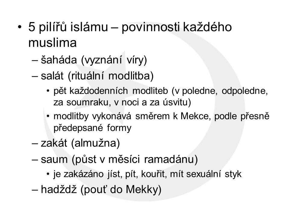 5 pilířů islámu – povinnosti každého muslima –šaháda (vyznání víry) –salát (rituální modlitba) pět každodenních modliteb (v poledne, odpoledne, za soumraku, v noci a za úsvitu) modlitby vykonává směrem k Mekce, podle přesně předepsané formy –zakát (almužna) –saum (půst v měsíci ramadánu) je zakázáno jíst, pít, kouřit, mít sexuální styk –hadždž (pouť do Mekky)