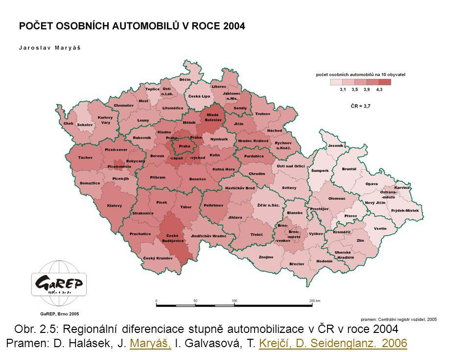 Obr. 2.5: Regionální diferenciace stupně automobilizace v ČR v roce 2004 Pramen: D. Halásek, J. Maryáš, I. Galvasová, T. Krejčí, D. Seidenglanz. 2006M